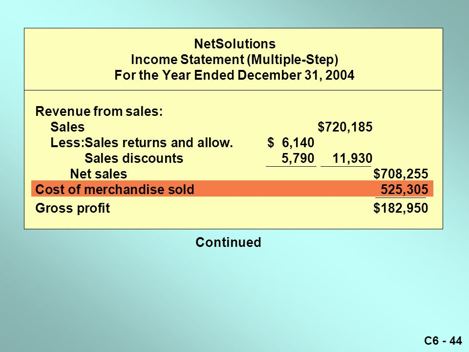 NetSolutions Income Statement (Multiple-Step) For the Year Ended December 31, 2004