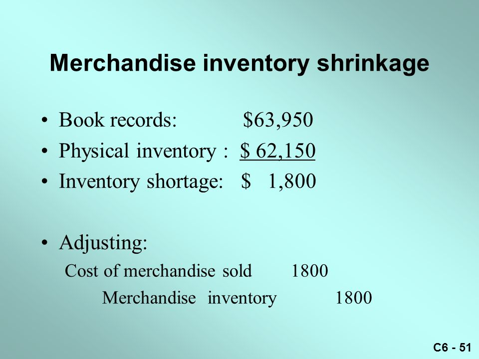 Merchandise inventory shrinkage