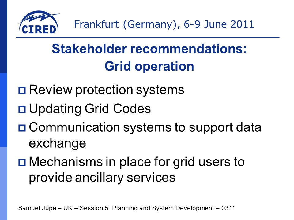 Stakeholder recommendations: