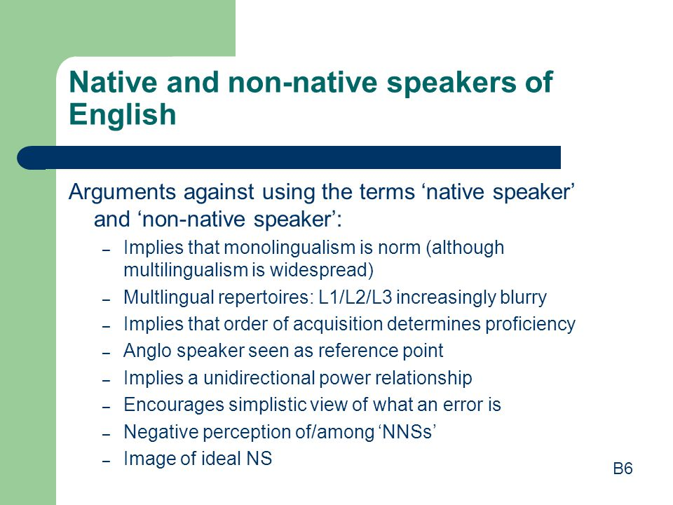 Native and non-native speakers of English