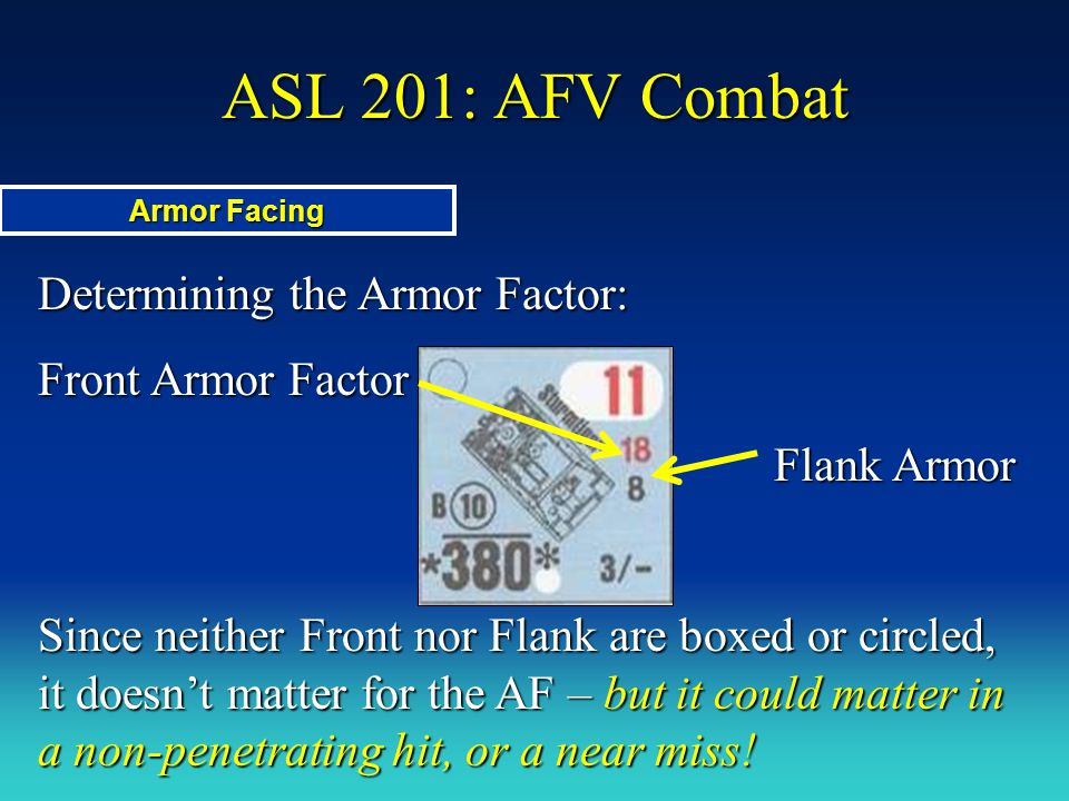 ASL 201: AFV Combat Determining the Armor Factor: Front Armor Factor