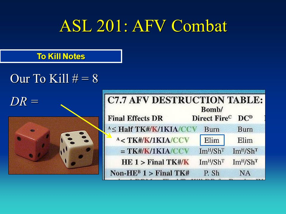 ASL 201: AFV Combat To Kill Notes Our To Kill # = 8 DR =