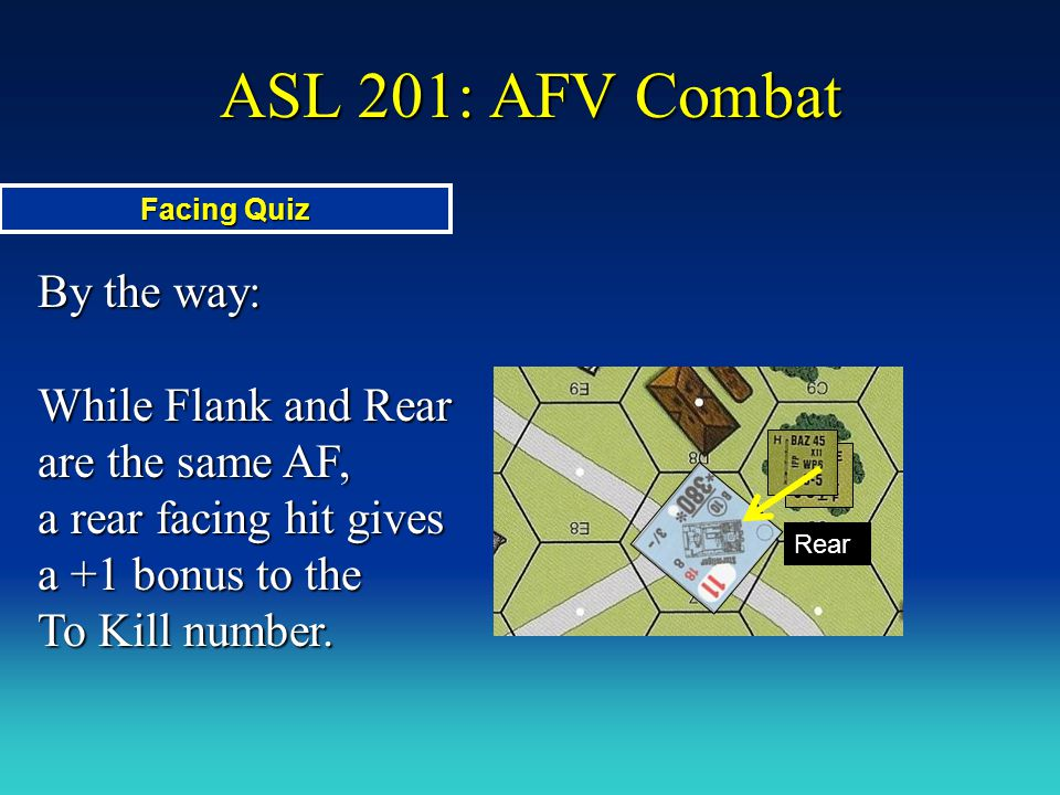 ASL 201: AFV Combat Facing Quiz. By the way: While Flank and Rear are the same AF, a rear facing hit gives a +1 bonus to the To Kill number.