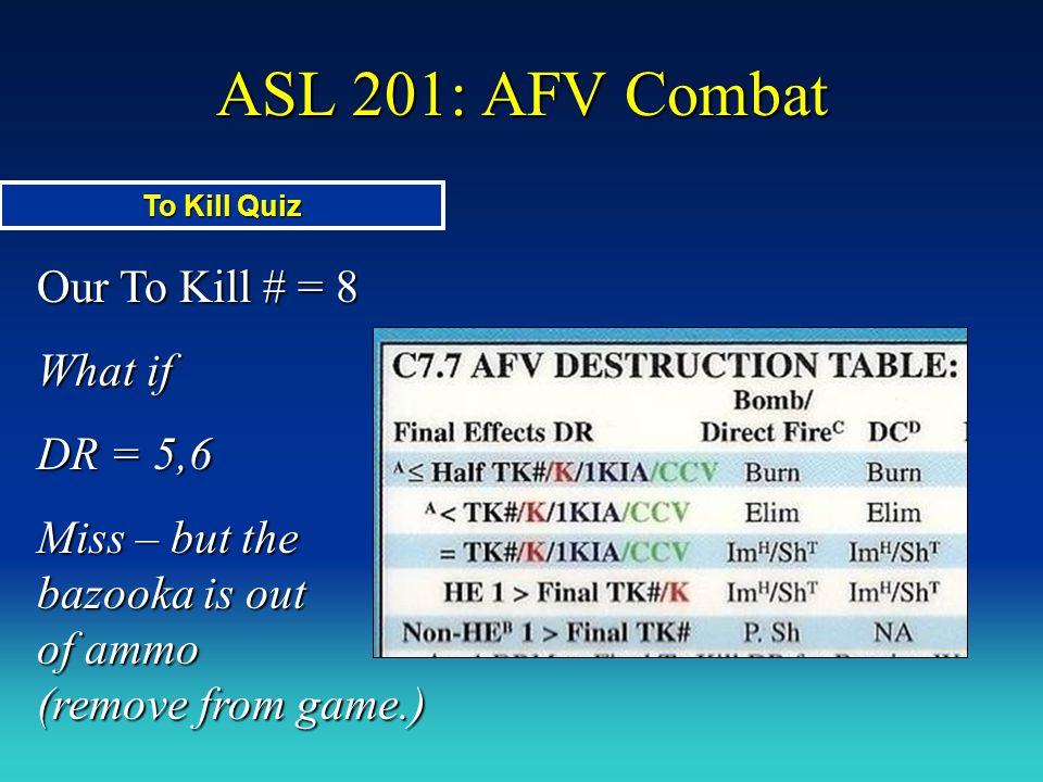 ASL 201: AFV Combat Our To Kill # = 8 What if DR = 5,6