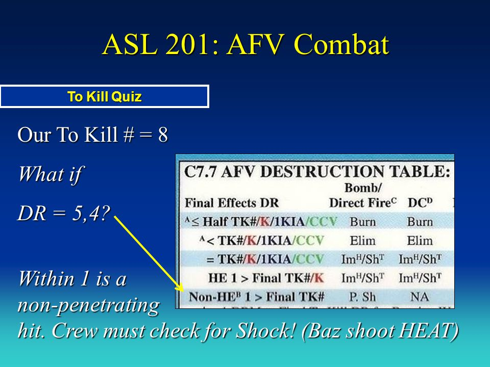 ASL 201: AFV Combat Our To Kill # = 8 What if DR = 5,4