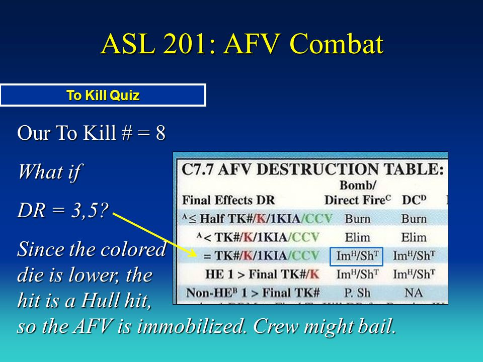 ASL 201: AFV Combat Our To Kill # = 8 What if DR = 3,5