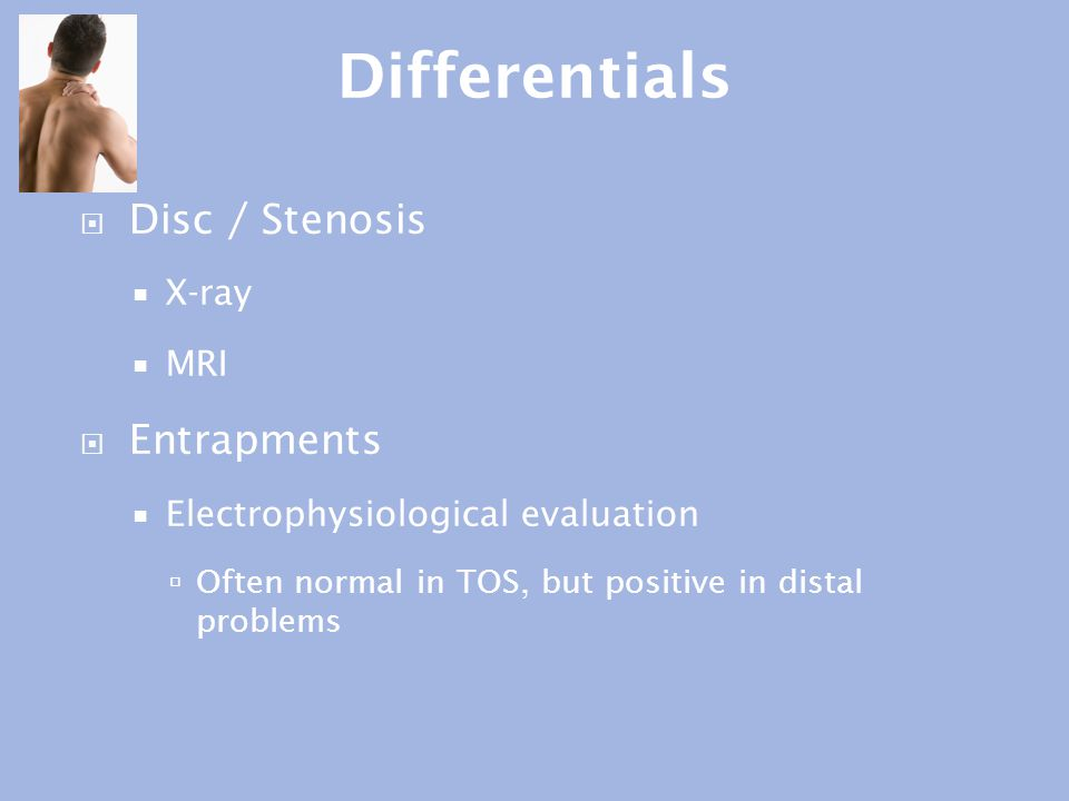 Differentials Disc / Stenosis Entrapments X-ray MRI