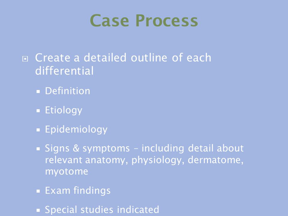 Case Process Create a detailed outline of each differential Definition