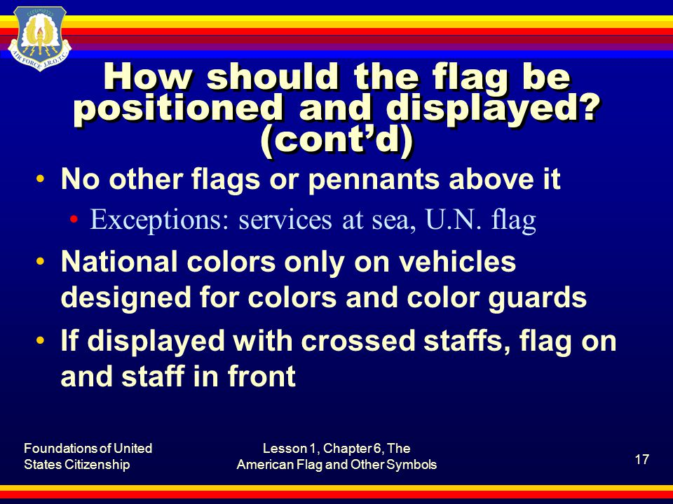 How should the flag be positioned and displayed (cont'd)