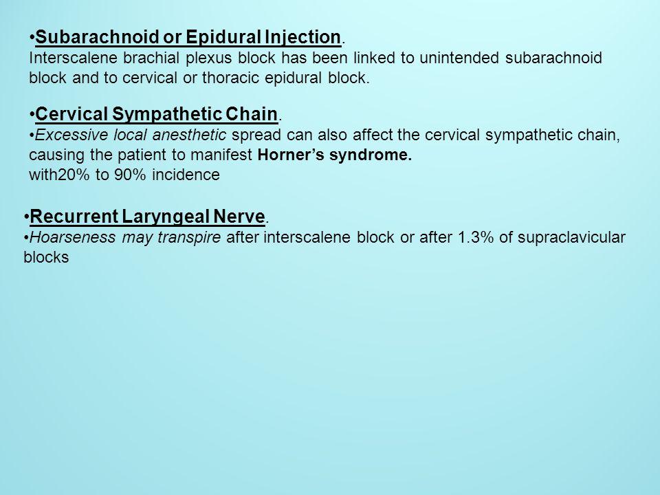 Subarachnoid or Epidural Injection.