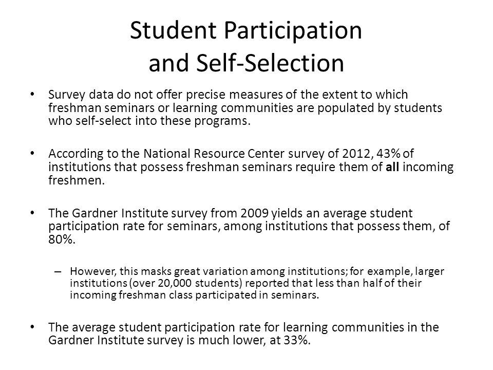 Student Participation and Self-Selection