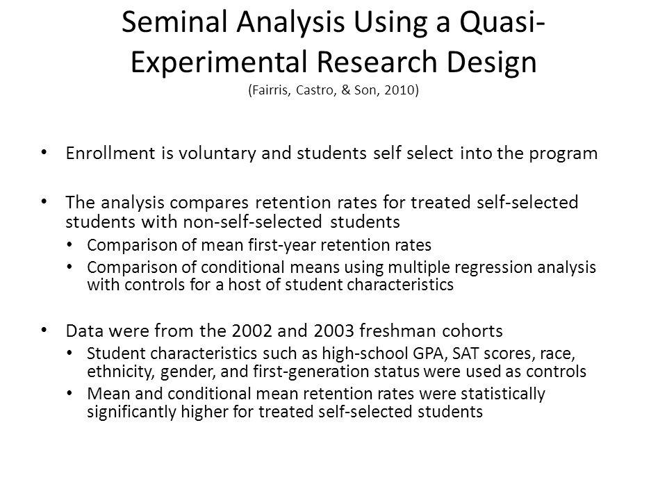 Seminal Analysis Using a Quasi-Experimental Research Design (Fairris, Castro, & Son, 2010)