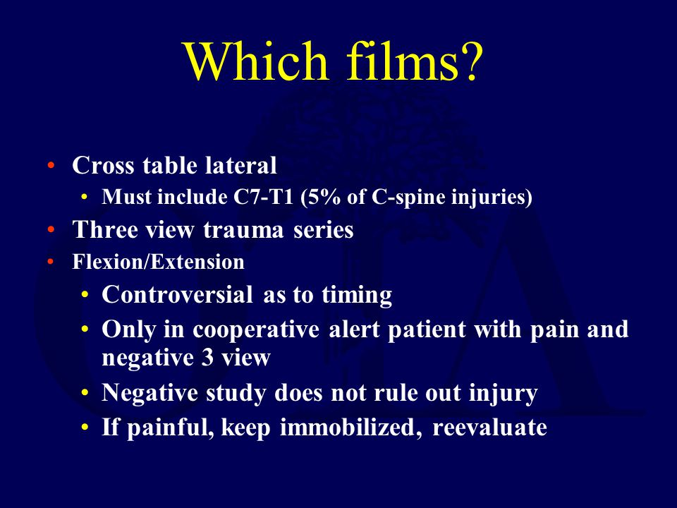Which films Cross table lateral Three view trauma series