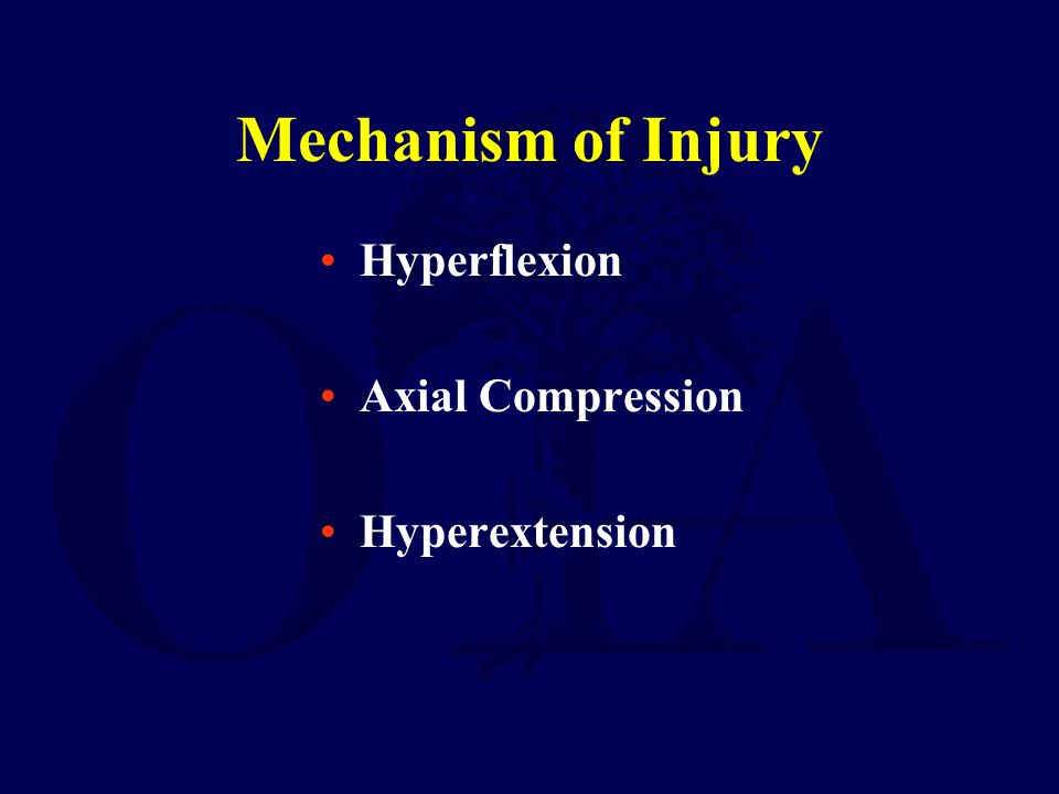 Mechanism of Injury Hyperflexion Axial Compression Hyperextension