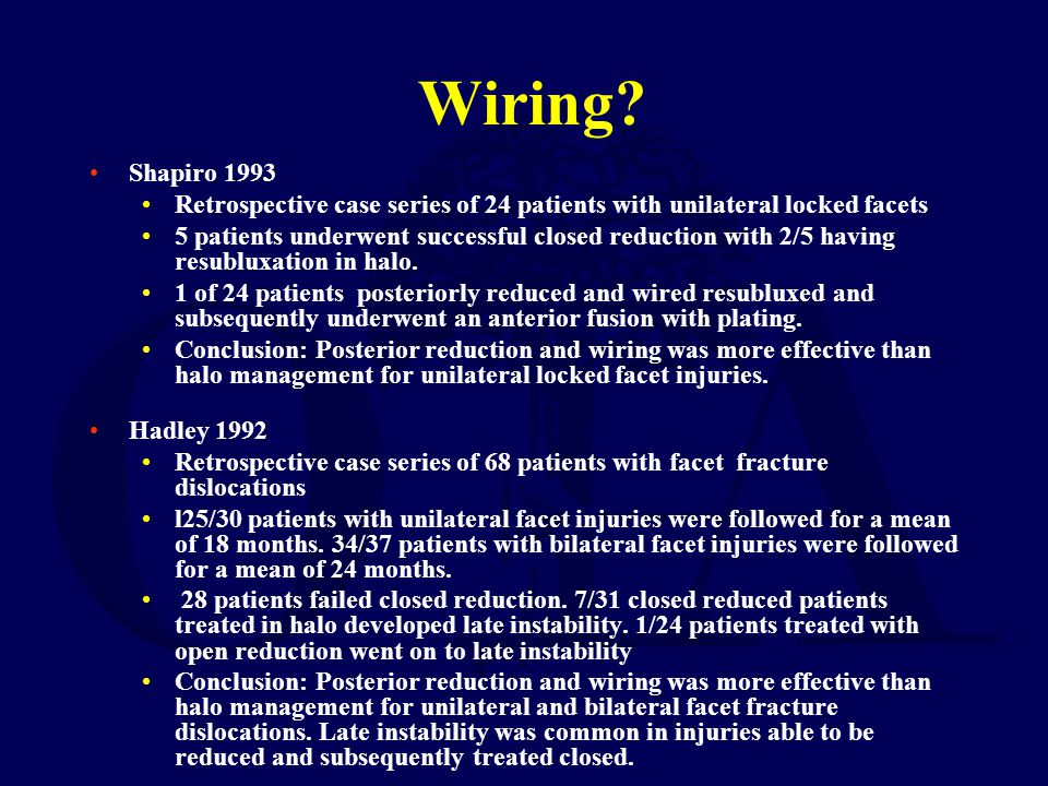 Wiring Shapiro 1993. Retrospective case series of 24 patients with unilateral locked facets.