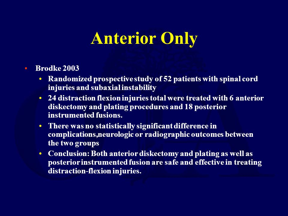 Anterior Only Brodke 2003. Randomized prospective study of 52 patients with spinal cord injuries and subaxial instability.