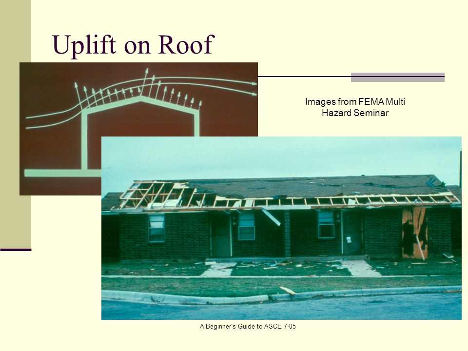 Uplift on Roof Images from FEMA Multi Hazard Seminar