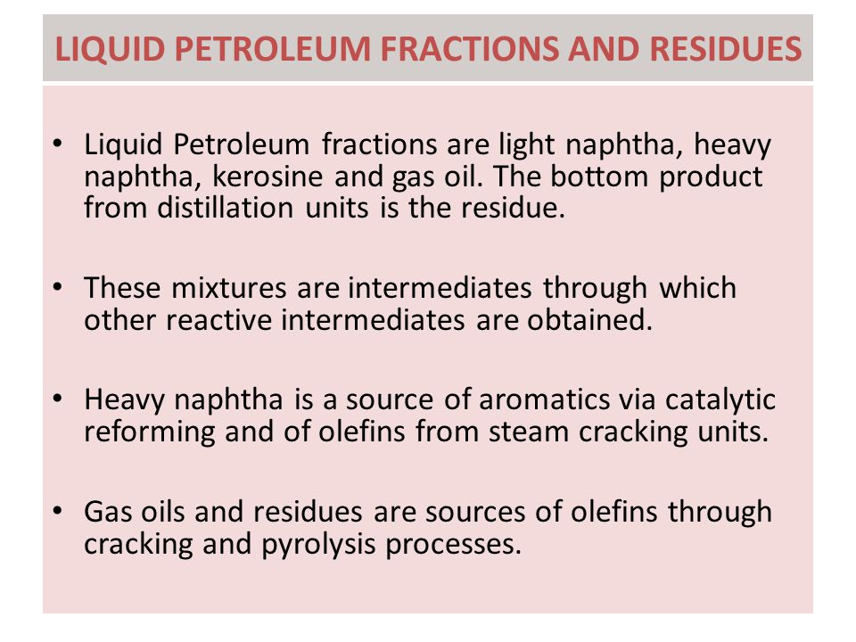 LIQUID PETROLEUM FRACTIONS AND RESIDUES