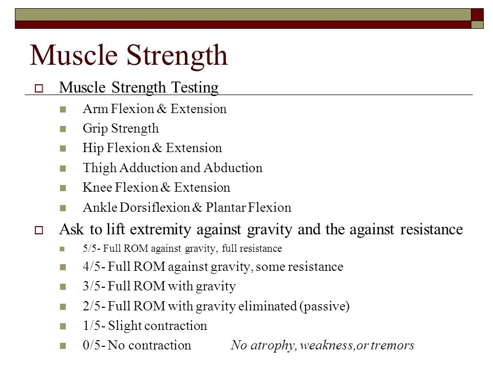 Muscle Strength Muscle Strength Testing