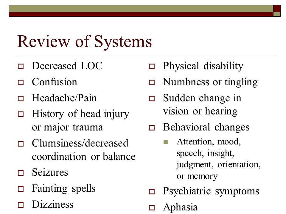 Review of Systems Decreased LOC Confusion Headache/Pain