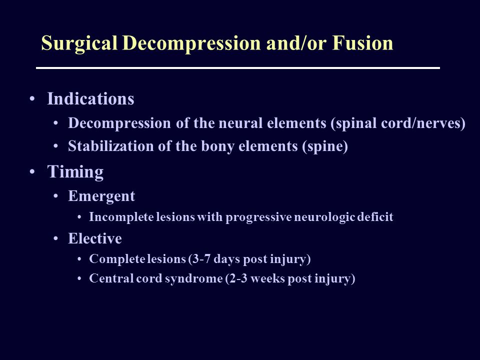 Surgical Decompression and/or Fusion