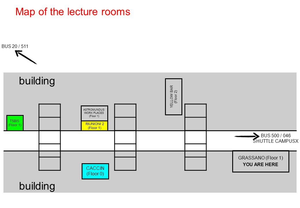 Map of the lecture rooms