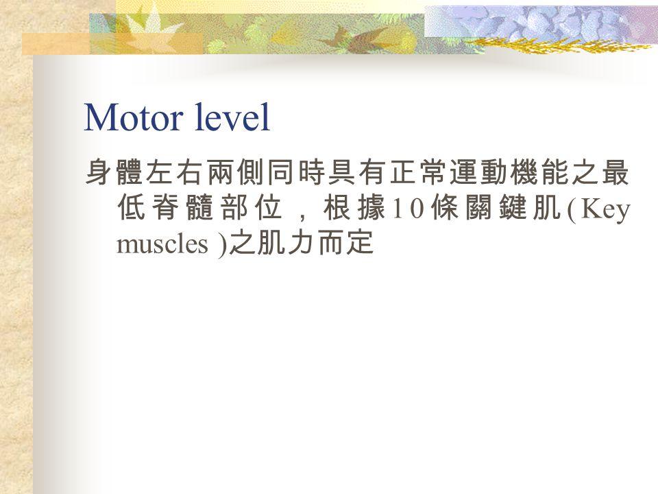 Motor level 身體左右兩側同時具有正常運動機能之最低脊髓部位,根據10條關鍵肌(Key muscles )之肌力而定