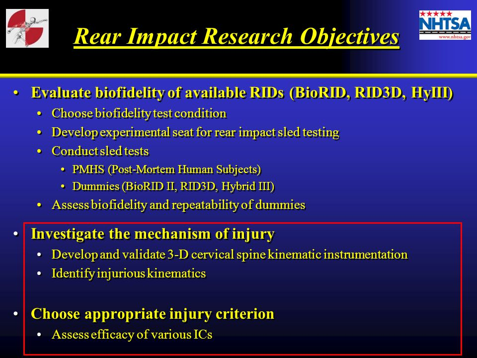 Rear Impact Research Objectives