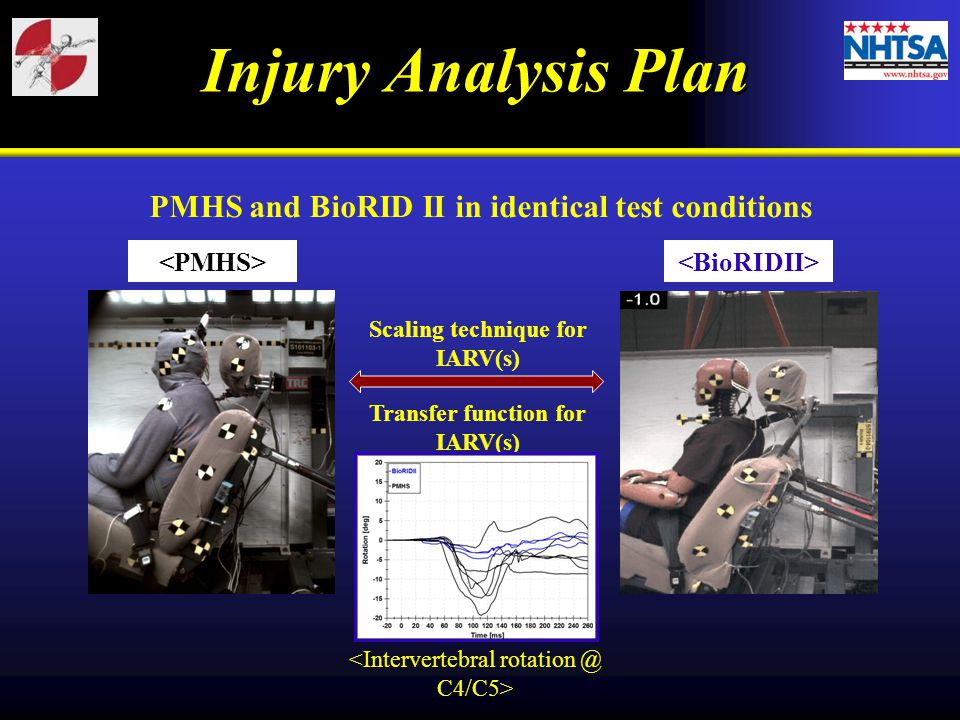 Injury Analysis Plan PMHS and BioRID II in identical test conditions