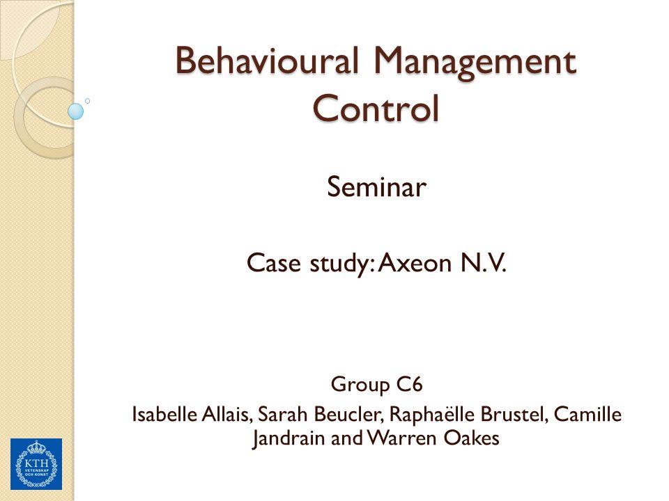 Behavioural Management Control