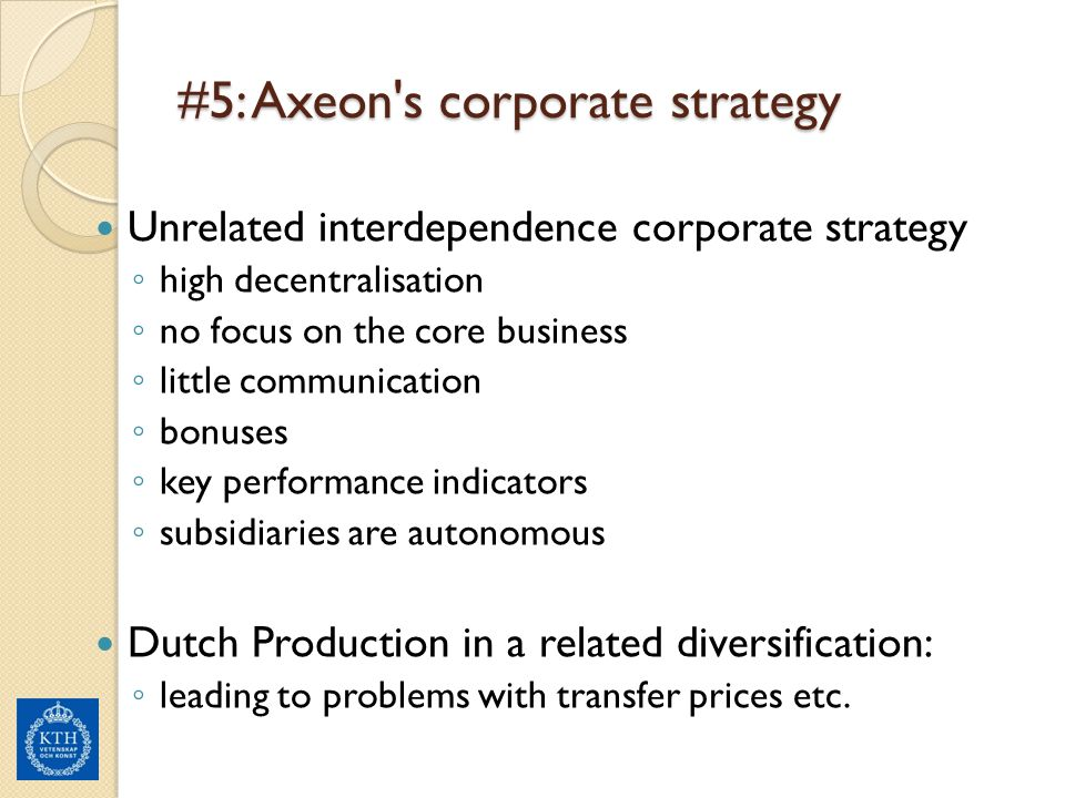 #5: Axeon s corporate strategy