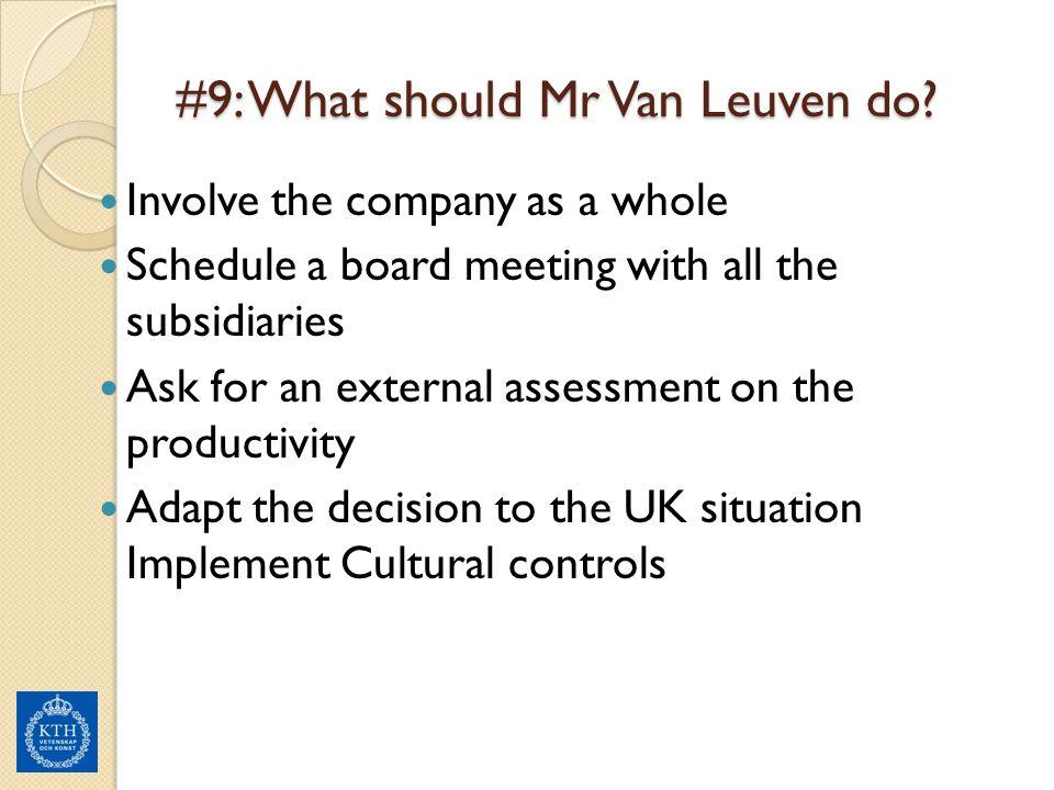 #9: What should Mr Van Leuven do