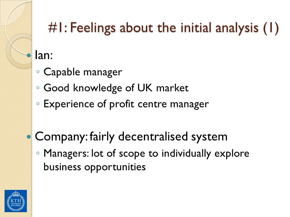 #1: Feelings about the initial analysis (1)
