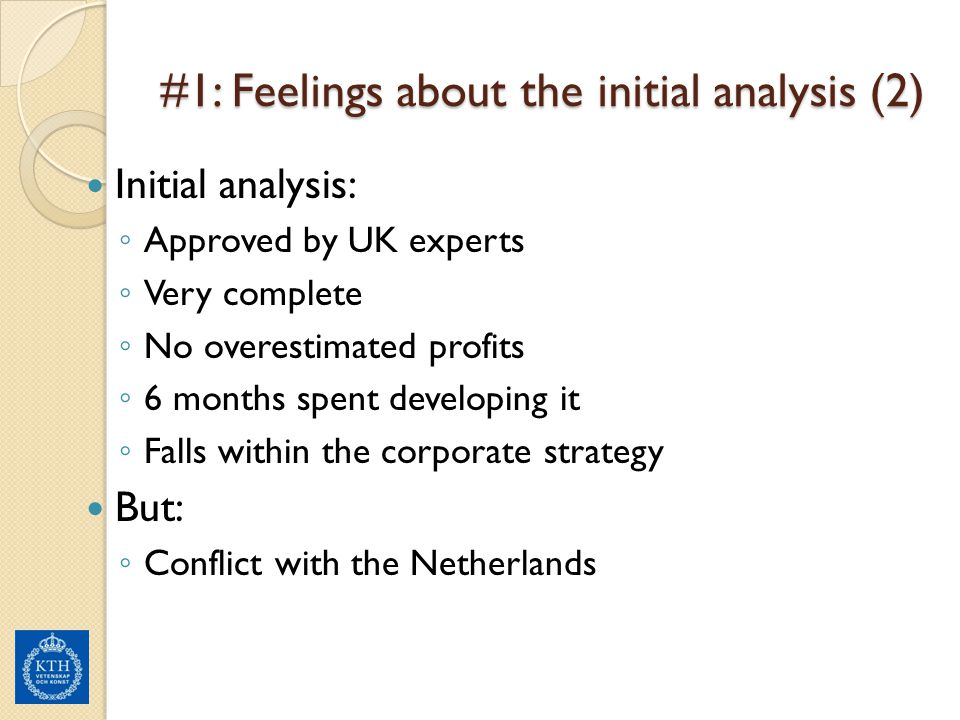 #1: Feelings about the initial analysis (2)