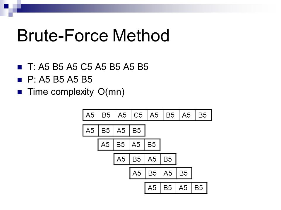 Brute-Force Method T: A5 B5 A5 C5 A5 B5 A5 B5 P: A5 B5 A5 B5