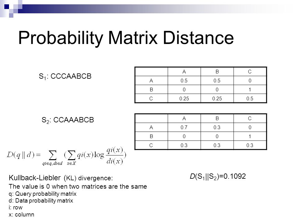 Probability Matrix Distance