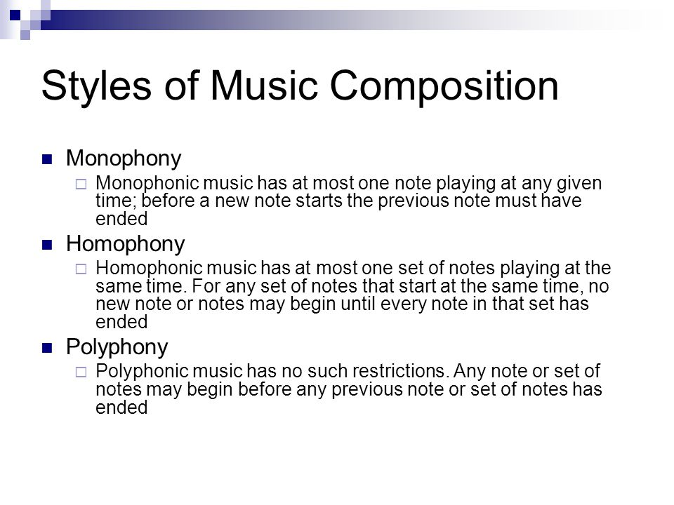 Styles of Music Composition
