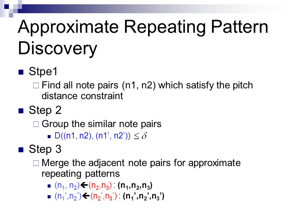 Approximate Repeating Pattern Discovery
