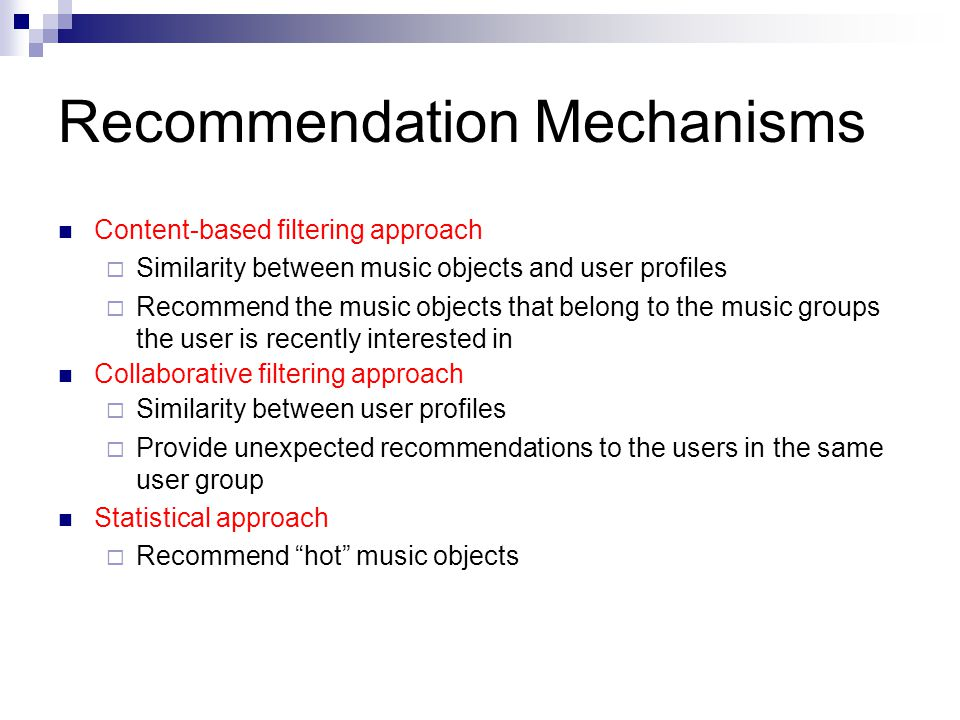 Recommendation Mechanisms