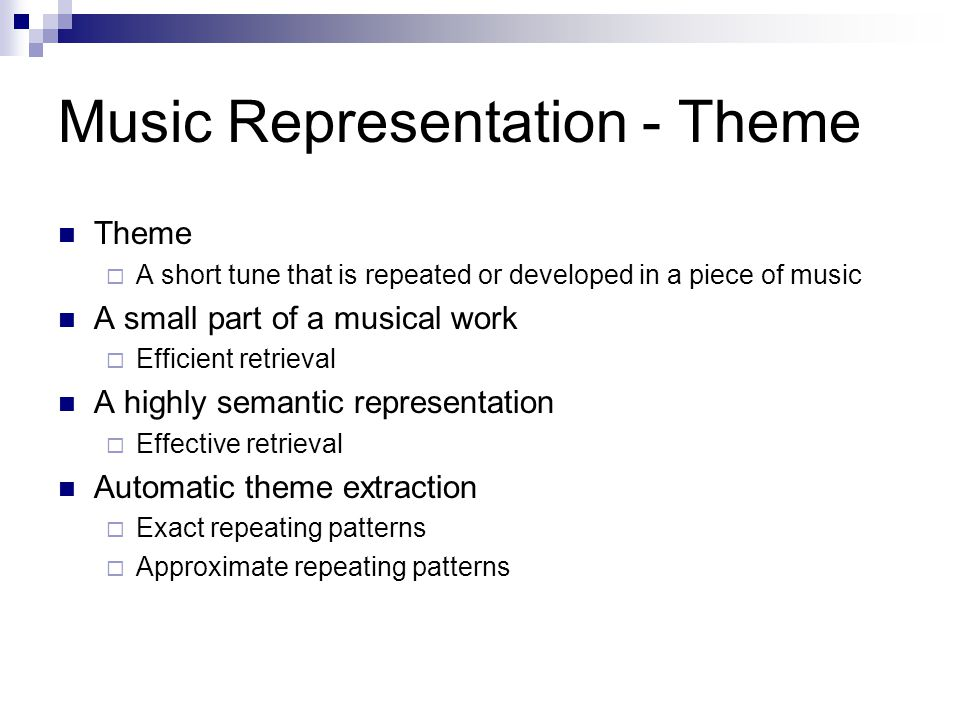 Music Representation - Theme