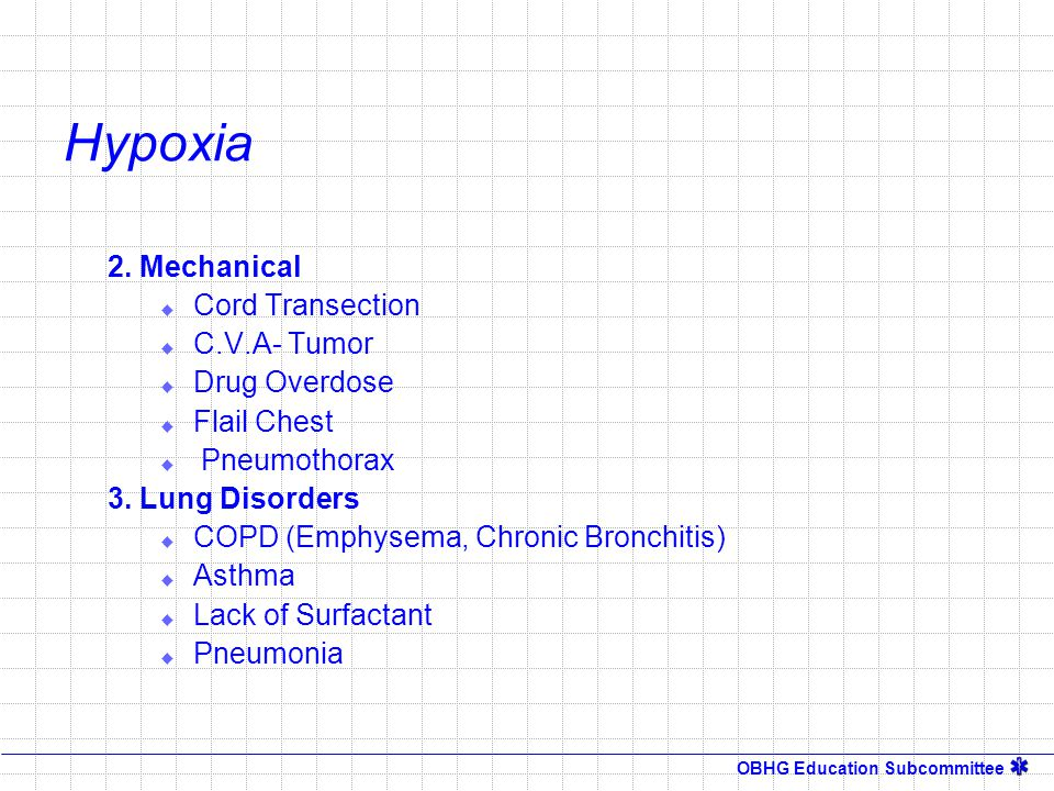 Hypoxia 2. Mechanical Cord Transection C.V.A- Tumor Drug Overdose