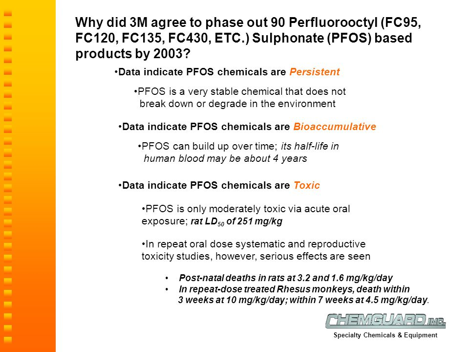 Why did 3M agree to phase out 90 Perfluorooctyl (FC95, FC120, FC135, FC430, ETC.) Sulphonate (PFOS) based products by 2003