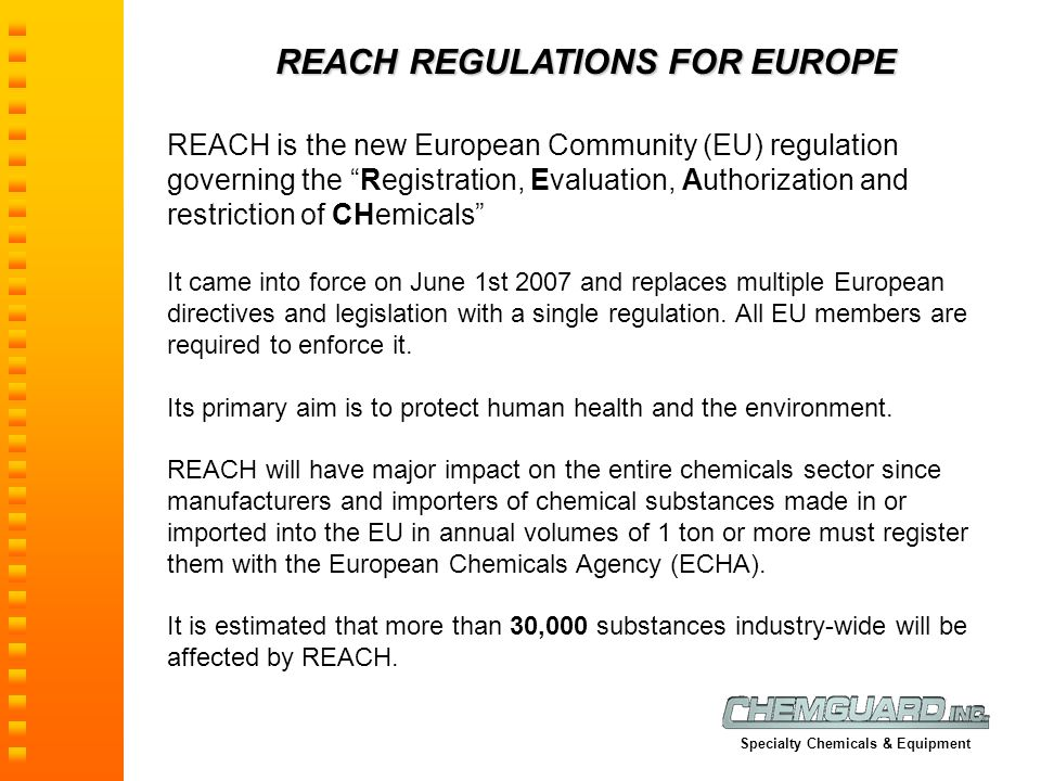 REACH REGULATIONS FOR EUROPE
