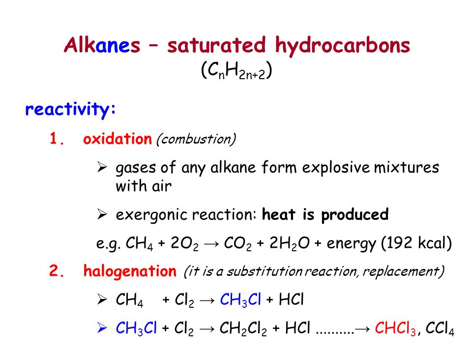 Alkanes – saturated hydrocarbons (CnH2n+2)