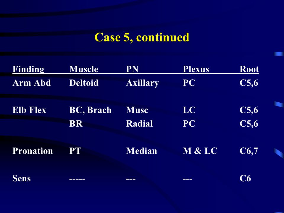 Case 5, continued Finding Muscle PN Plexus Root