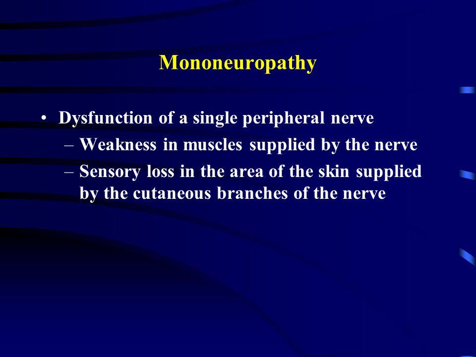 Mononeuropathy Dysfunction of a single peripheral nerve
