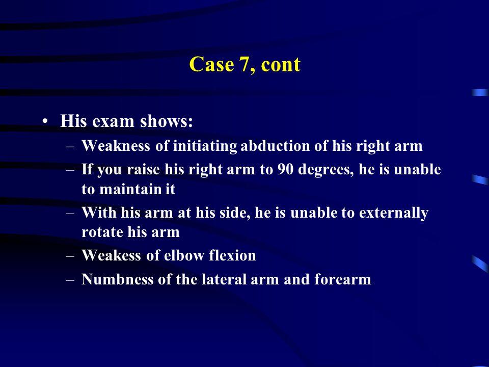 Case 7, cont His exam shows: