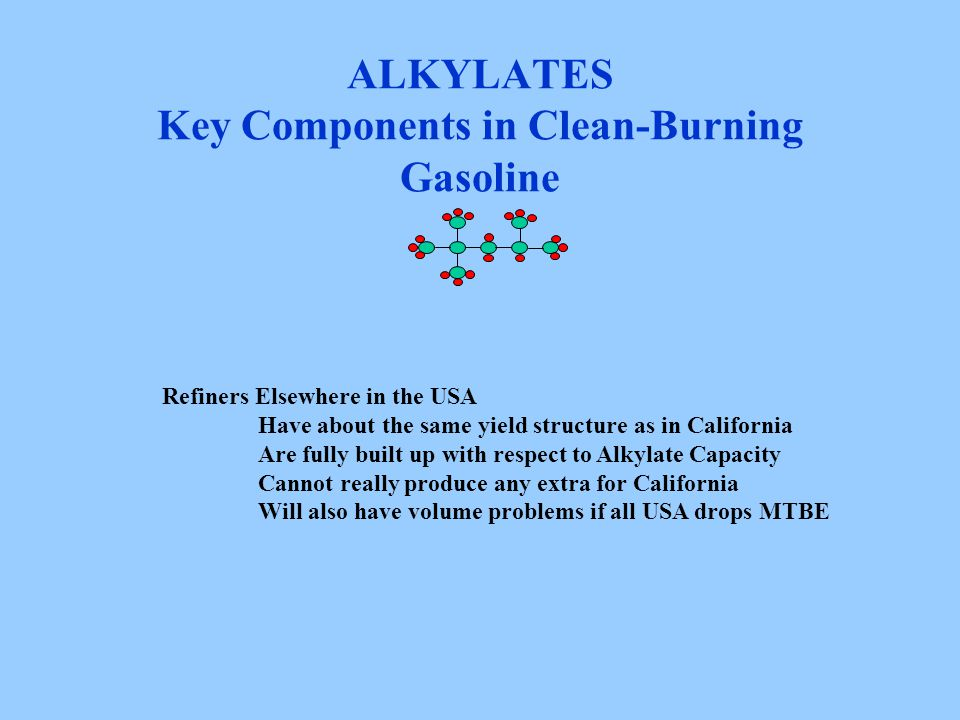 ALKYLATES Key Components in Clean-Burning Gasoline