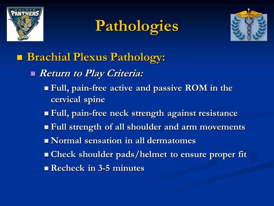 Pathologies Brachial Plexus Pathology: Return to Play Criteria: