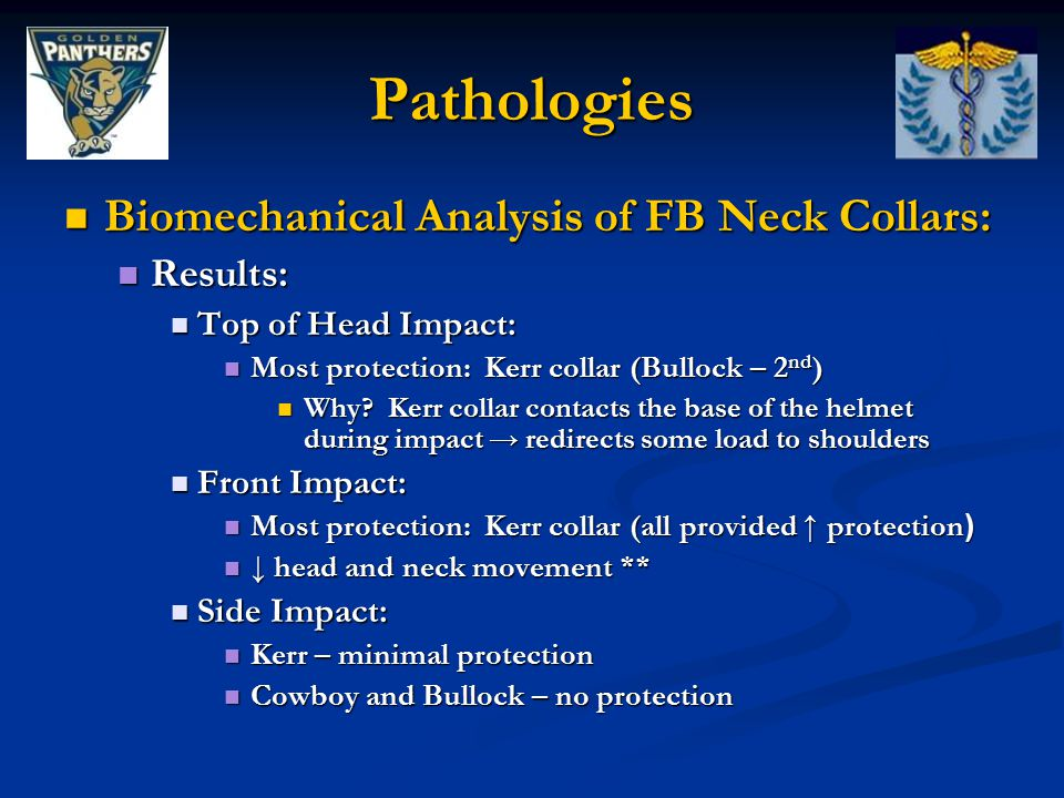 Pathologies Biomechanical Analysis of FB Neck Collars: Results: